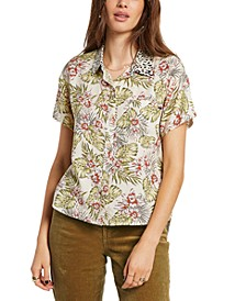 Juniors Sorry Babe Mixed Print Shirt