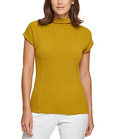 Sleeveless Ribbed Mock-Neck Top