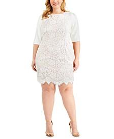 Plus Size Elbow-Sleeve Lace Dress