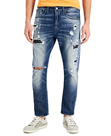Men's Tapered Cropped Rip-and Repair Jeans