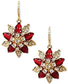 Gold-Tone Crystal Poinsettia Drop Earrings, Created for Macy's