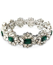 Silver-Tone Crystal & Stone Flower Stretch Bracelet, Created for Macy's