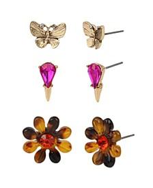Tortoise Daisy Stud Trio Earrings Set