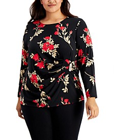 Plus Size Ruched Hardware Top