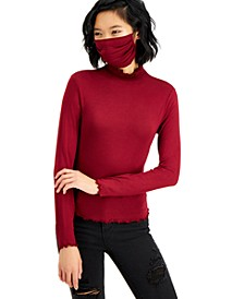 Juniors' Mock-Neck Top & Mask Set