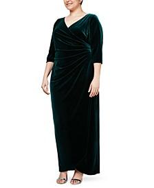 Plus Size Velvet Surplice Dress With Tulip Overlay