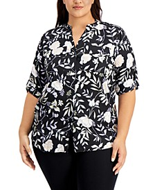 Plus Size Floral-Print Roll-Sleeve Top