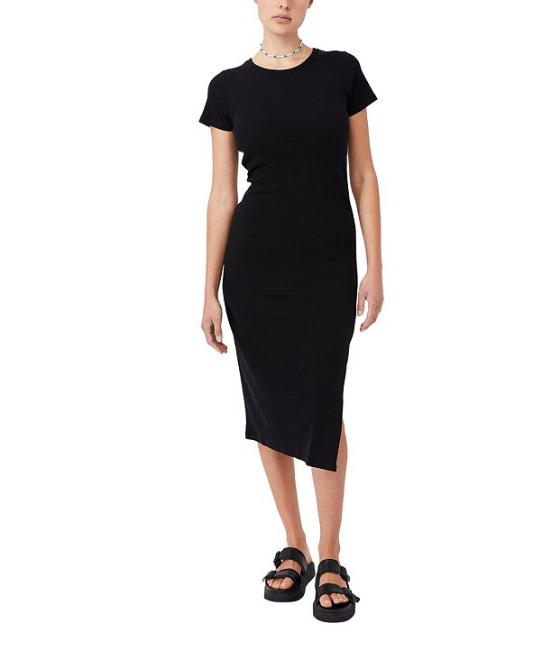 COTTON ON Women's Essential Split Short Sleeve Midi Dress