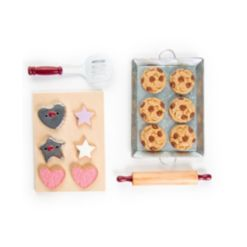 """18"""" Doll Food Accessory, 16 Piece Authentic Cookie Baking Set with Cookies and Baking Tools, Compatible for Use with American Girl Dolls"""