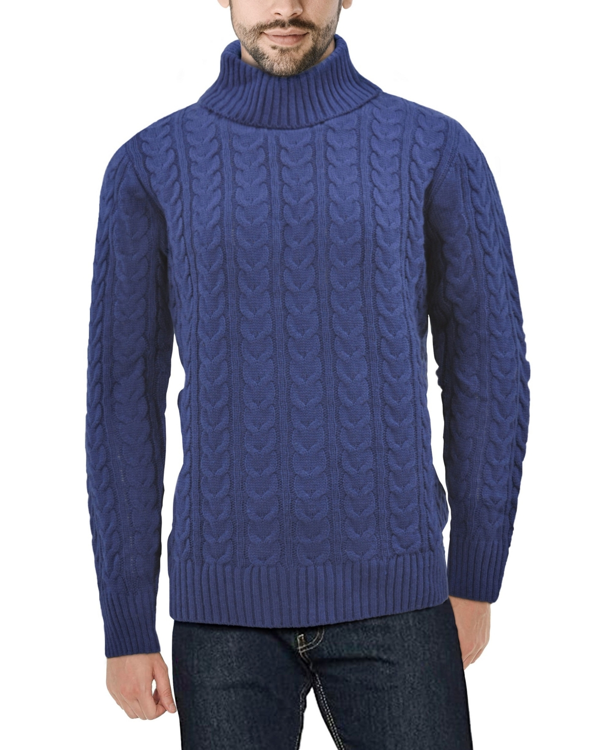 60s 70s Men's Jackets & Sweaters X-Ray Mens Cable Knit Roll Neck Sweater $48.00 AT vintagedancer.com