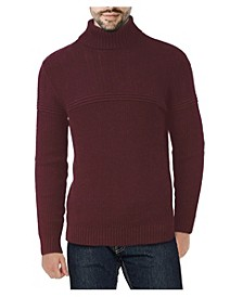 Men's Ribbed Pattern Turtleneck Sweater