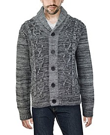 Men's Shawl Collar Cable Knit Cardigan