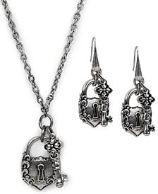 Silver-Tone Lock & Key Pendant Necklace & Drop Earrings Set