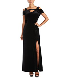 Plus Size Long Stretch Velvet Cold-Shoulder Dress