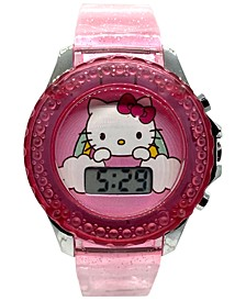 Kid's Hello Kitty Digital Pink Silicone Strap Watch 34mm