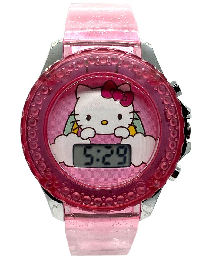Accutime - Kid's Hello Kitty Digital Pink Silicone Strap Watch 34mm