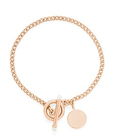 14K Rose Gold Plated Stella Pearl Toggle Bracelet
