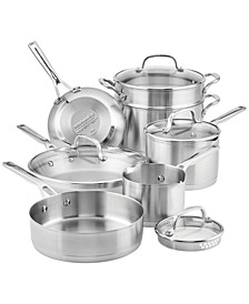 Brushed Stainless Steel 11-Pc. Cookware Set
