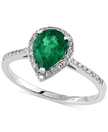 Brasilica by EFFY Emerald (9/10 ct. t.w.) and Diamond (1/6 ct. t.w.) Pear-Shaped Ring in 14k White Gold, Created for Macy's