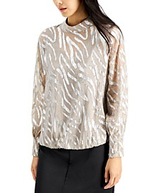 Printed Mock-Neck Bubble Top, Created for Macy's