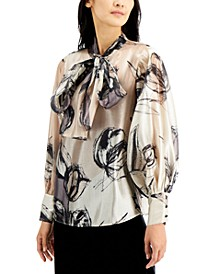 Petite Bow-Neck Balloon-Sleeve Top, Created for Macy's