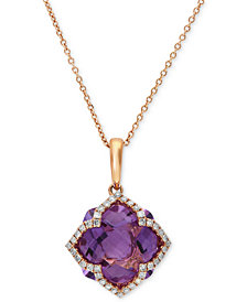 Lavender Rosé by EFFY Amethyst (5-3/4 ct. t.w.) and Diamond (1/5 ct. t.w.) Clover Pendant in 14k Rose Gold
