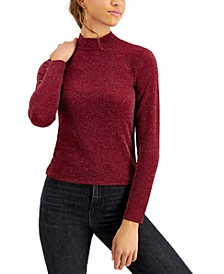Juniors' Mock-Neck Sparkle Top