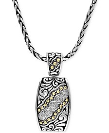 Balissima by EFFY® Diamond Etched Pendant (1/10 ct. t.w.) in Sterling Silver and 18k Gold