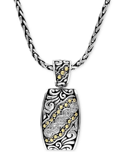 Balissima by EFFY Diamond Etched Pendant (1/10 ct. t.w.) in Sterling Silver and 18k Gold