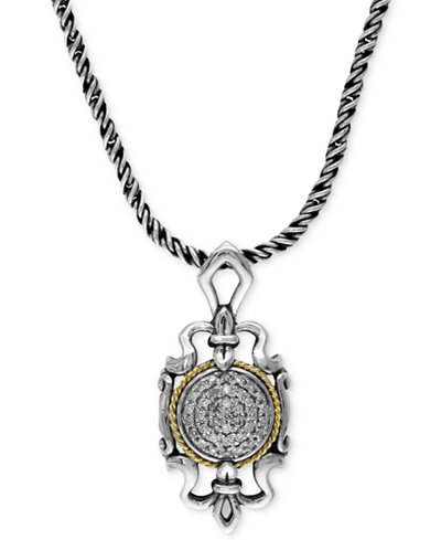 Balissima by EFFY Regal Diamond Pendant (1/6 ct. t.w.) in Sterling Silver and 18k Gold