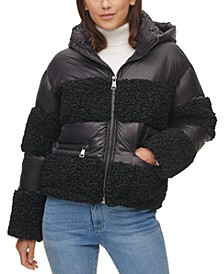 Fuzz-Stripe Hooded Puffer Coat