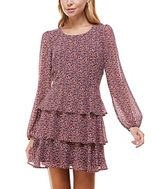 Juniors' Tiered Floral-Print Fit & Flare Dress