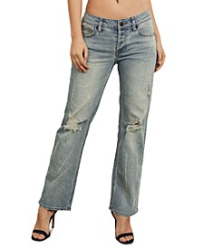 Juniors Distressed Straight-Leg Cotton Jeans