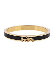 Horse Carriage Enamel Hinged Bangle Bracelet