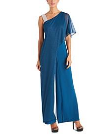One-Shoulder Embellished Jumpsuit