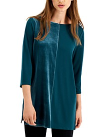 Velvet Boat-Neck Tunic Top, Created for Macy's