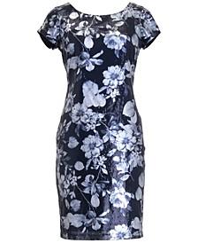 Sequin Floral Sheath Dress