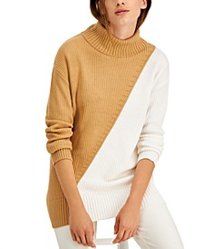 Petite Colorblocked Turtleneck Sweater, Created for Macy's