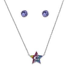 "Star Swarovski® Crystal Necklace and Stud Earrings Set, 16"" + 2"" extender"