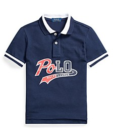 Big Boys Logo Cotton Mesh Polo Shirt