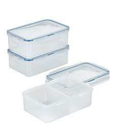 Easy Essentials On the Go Meals Divided Rectangular Food Storage Containers, 34-Ounce, Set of 3