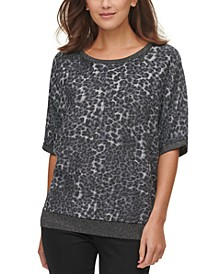 Animal-Print Short-Sleeve Sweater
