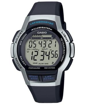 Men's Digital Black Resin Strap Watch 42.6mm