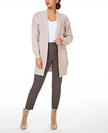 Waffle-Textured Cable-Knit Open-Front Cardigan