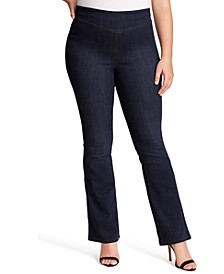 Trendy Plus Size Pull-On Flare-Leg Jeans