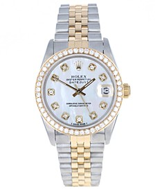Ladies Midsize Two Tone Datejust Jubilee with Mother of Pearl Diamond Dial & 14K Diamond Bezel