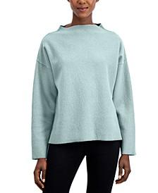 Solid Mock-Neck Dropped-Shoulder Sweater