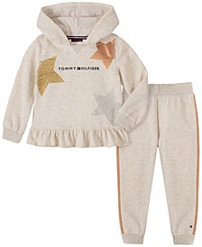 Little Girls 2 Piece Hooded Fleece Set