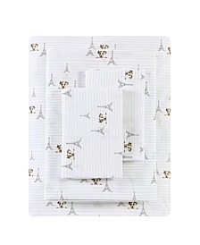 Augie in Paris Percale Twin Sheet Set