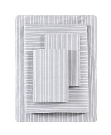 Linen Texture Stripe Percale Queen Sheet Set